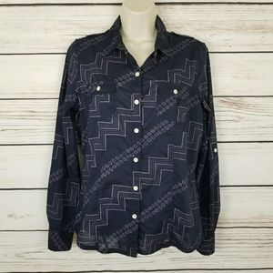 Levis Dotted Zig Zag Button Up Top Pockets EUC